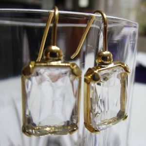 Jewelry - Crystal Cut Glass and Goldtone Pierced Earrings.